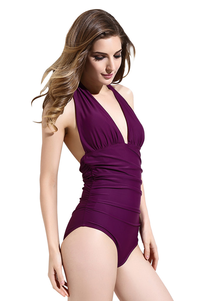 FB974# Pure Color Ruched Deep Plunge Backless Halter One Piece Swimsuit * - Cobunny