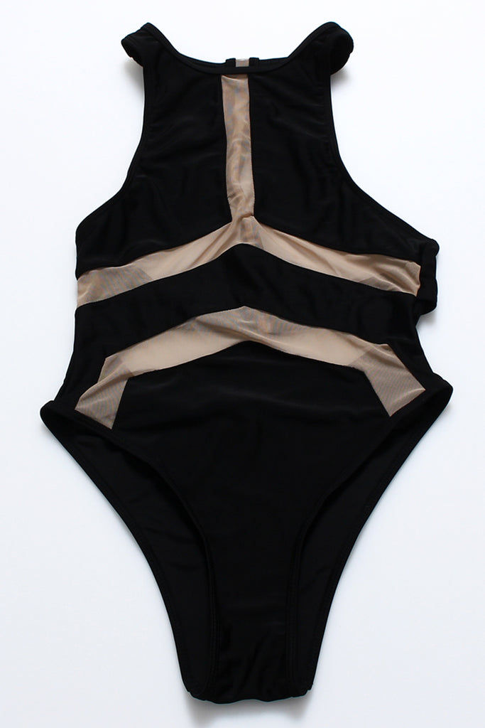 FB690# Contrast Mesh Panel High Neck Racerback High Cut One Piece Swimsuit * - Cobunny
