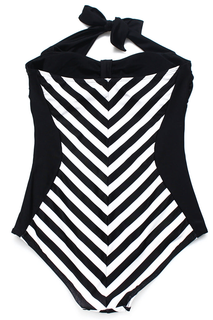GK026# Retro Style Striped Bandeau Halter One Piece Swimsuit * - Cobunny