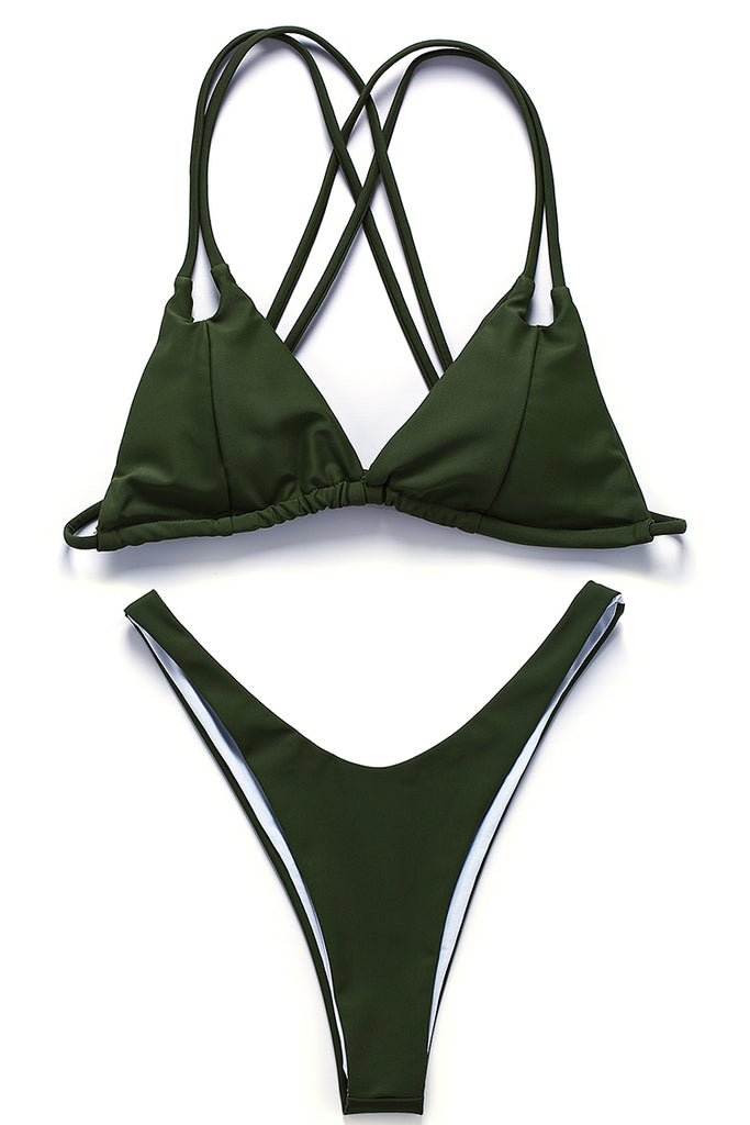 Low Waist Strappy Triangle Brazilian Bikini Set - Cobunny