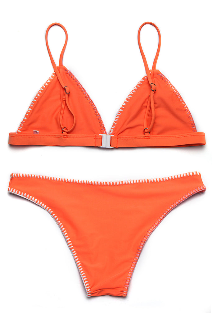 FB972# Orange Crochet Edge Triangle Bikini Set * - Cobunny