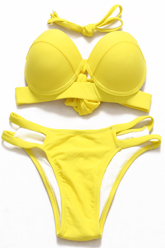 FB937# Solid Color Cut Out Push Up Low Waist Bikini Set * - Cobunny