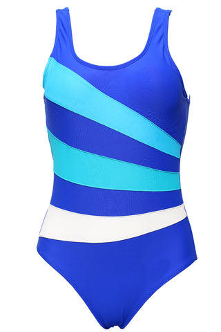 FB985# Multicolor Patchwork Scoop Back Tank One Piece Swimsuit * - Cobunny