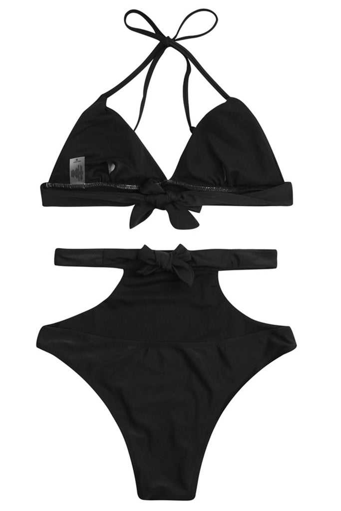 PF017# Solid Strappy Triangle Halter High Waist Bikini Set * - Cobunny
