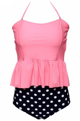 GK027# Solid Ruffle Bandeau Tankini Top & Polk Dot High Waist Bottom * - Cobunny