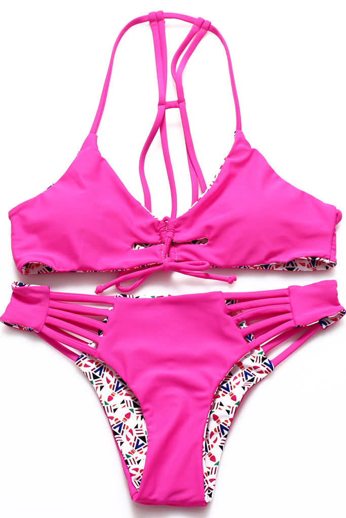 FB923# Lipsticks Print Cut Out Reversible Strappy Bralette Bikini Set * - Cobunny