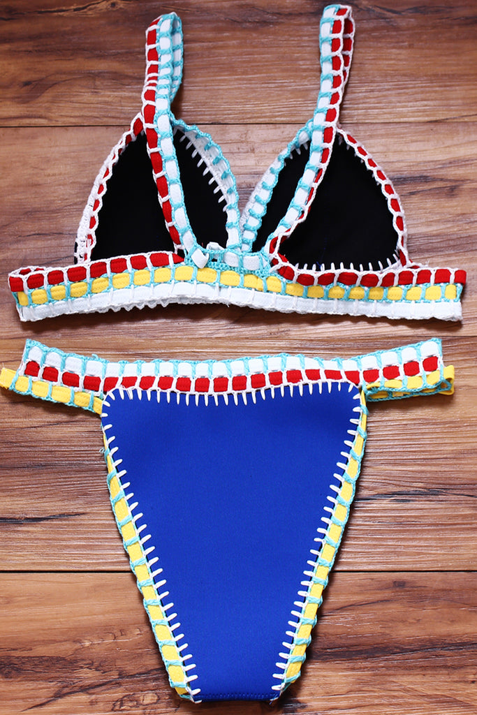 FB899# Multicolor Neoprene Elastic Crochet Triangle Brazilian Bikini Set * - Cobunny