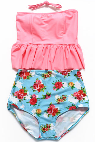 Red Ruffle Bandeau Tankini Top & Chinese Rose Print High Waist Bottom - Cobunny