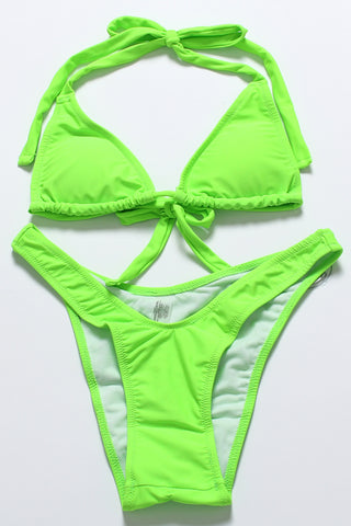 FB670# Solid Triangle Halter High Cut Bikini Set * - Cobunny