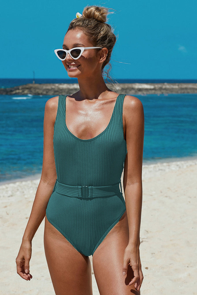 Ribbed One-piece Swimsuit with Belt