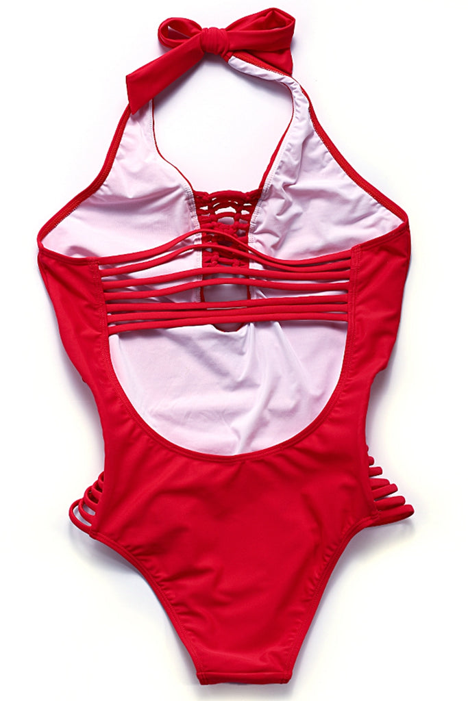 FB505# Red Deep Plunge Strappy Cut Out Backless One Piece Swimsuit * - Cobunny