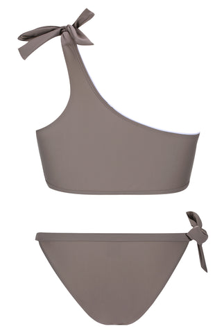 A109# Khaki Solid Tie Side One Shoulder Bikini Set * - Cobunny