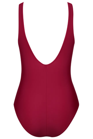 A163# Plum Solid Lace Up Plunge One Piece Swimsuit *(没有库存) - Cobunny