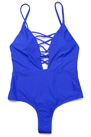 FB503# Deep Plunge V Neck Crisscross Lace Up One Piece Swimsuit * - Cobunny