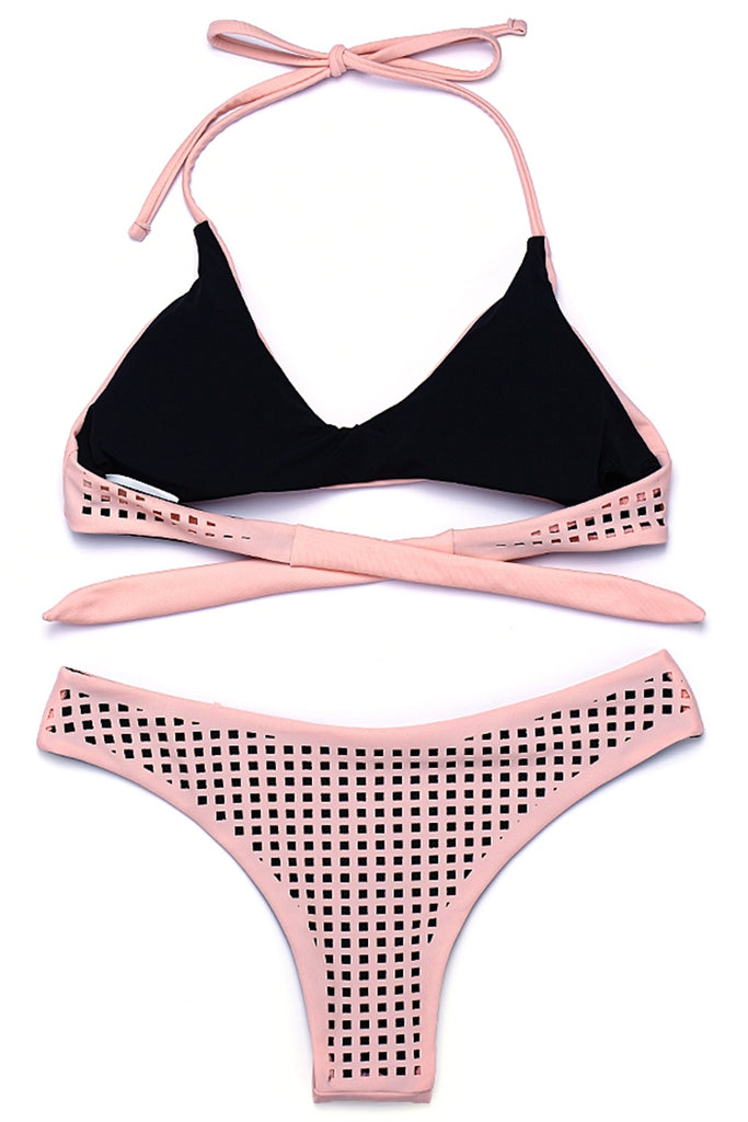 ZH052# Laser Grid Cut Out V Neck Halter Bikini Set * - Cobunny
