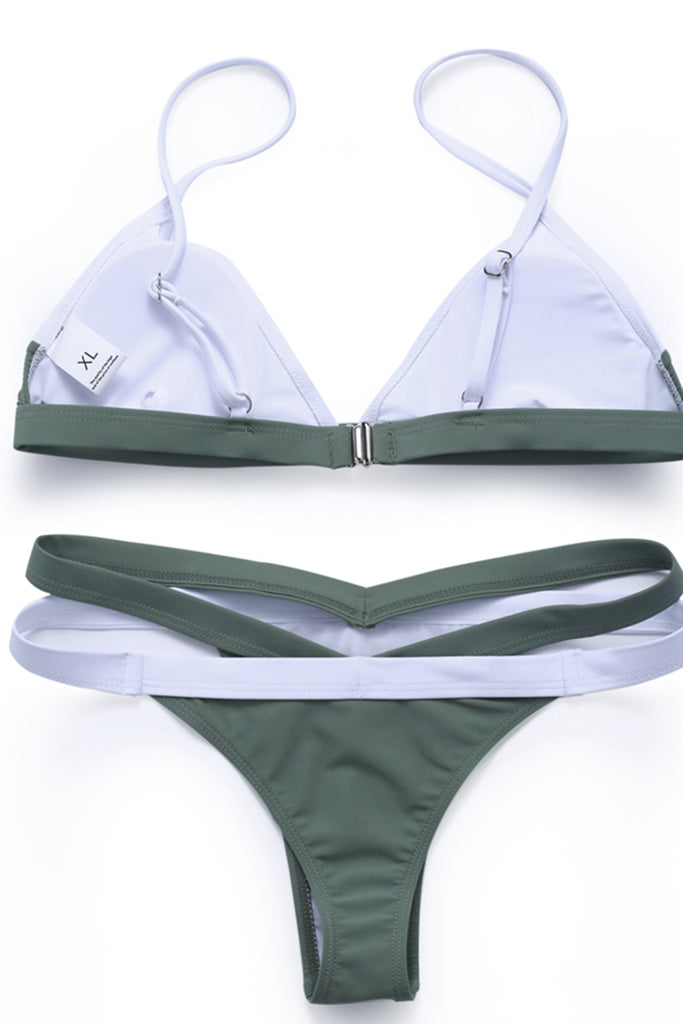 Color Block Spaghetti Straps Triangle Bikini Set - Cobunny