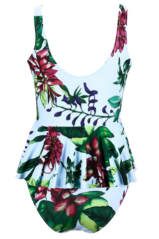 A083# Skirted Tropical Floral Printed Ruffle Tankini For Women* - Cobunny