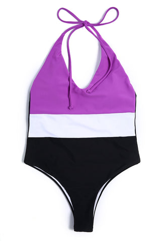 A422# Color Block Panel Plunge Backless Halter High Cut One Piece Swimsuit * - Cobunny