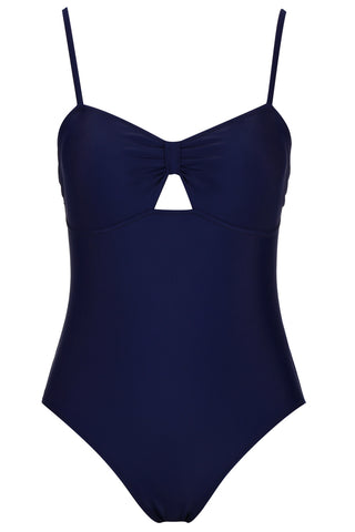 A276# Black Solid Cut Out One Piece Swimsuit * - Cobunny