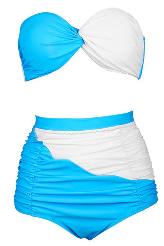FB999# Skyblue & White Halter Twisted Bandeau High Waist Bikini Set * - Cobunny
