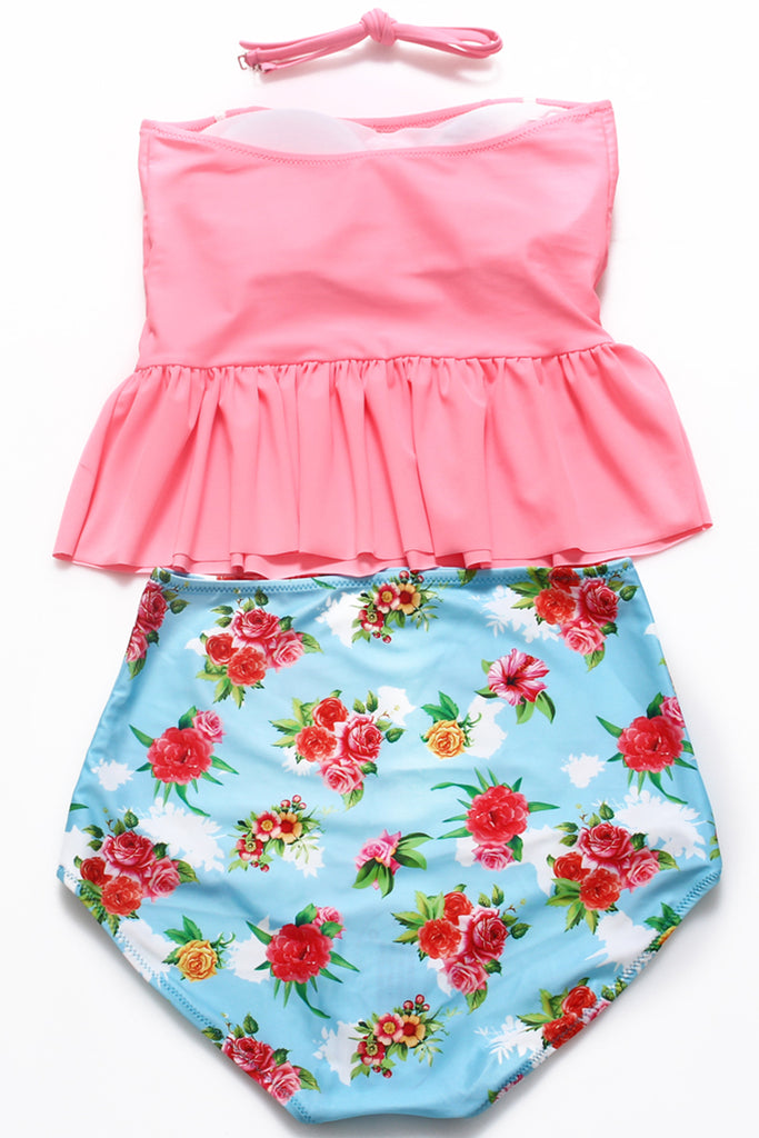 GK027# Red Ruffle Bandeau Tankini Top & Chinese Rose Print High Waist Bottom * - Cobunny