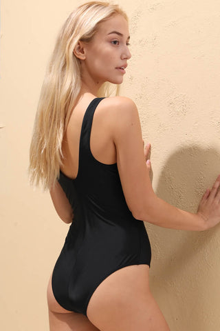 A016# Black Solid Tank Brazilian One Piece Swimsuit* - Cobunny