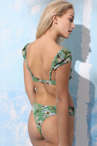 A022# Colorful Chrysanthemum Print Tie Front Cap Sleeve Bikini Set* - Cobunny