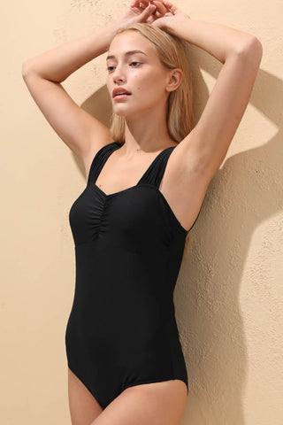 A026# Black Solid Ruched Wide Shoulder Strap One Piece Swimsuit* - Cobunny