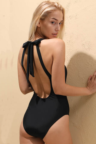 A034# Black Solid Cutout High Neck Halter One Piece Swimsuit* - Cobunny