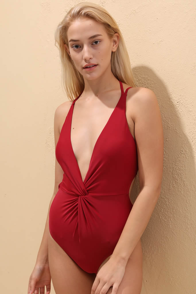 92a46164cbba 1A041# Elegant Wine Red Plunge Twist Front Strappy Back One Piece Swimsuit*  - Cobunny