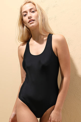 A043# Black Solid Racerback Tank One Piece Swimsuit* - Cobunny