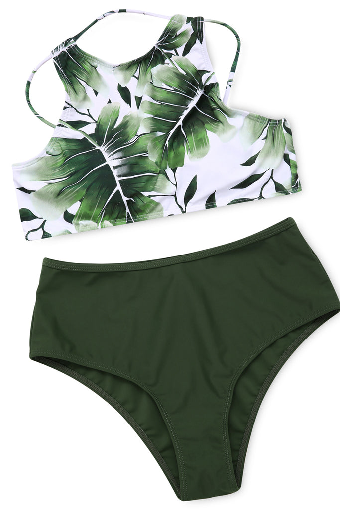 1A057# Palm Tree Cross Back High Neck Halter Top & High Waist Bottom* - Cobunny