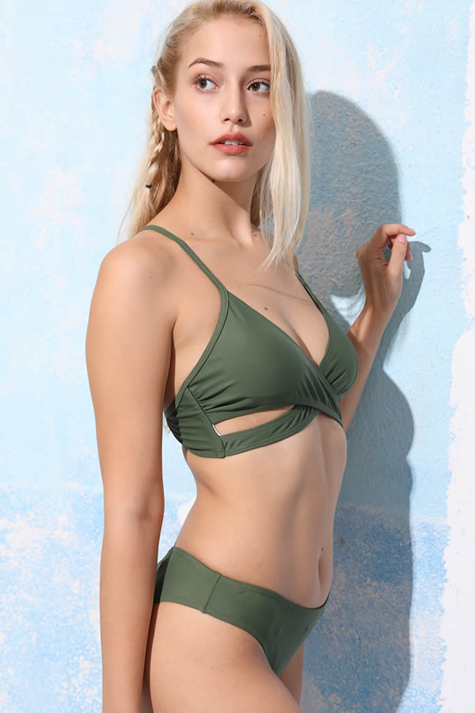 ca26947db0 A108# Army Green Solid Wrap Bikini Set * – Cobunny - Enjoy Your Time ...