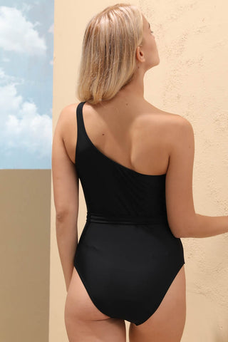 A113# Black Solid Tie Side One Shoulder One Piece Swimsuit * - Cobunny