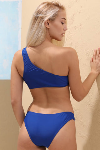 A115# Blue Solid One Shoulder Bikini Set * - Cobunny