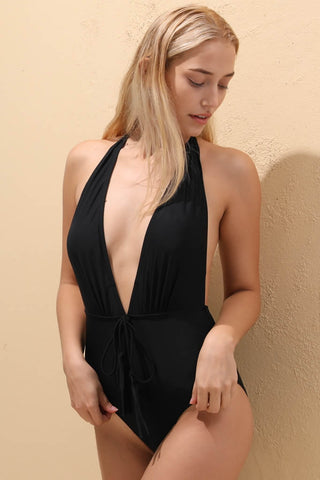 A120# Black Tassel Accent Deep Plunge Backless Halter One Piece Swimsuit * - Cobunny