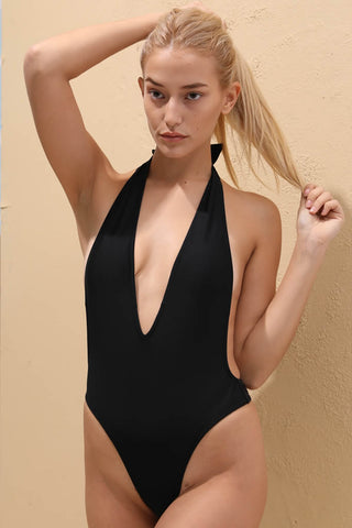 A124# Black Deep Plunge Backless Halter High Cut One Piece Swimsuit * - Cobunny