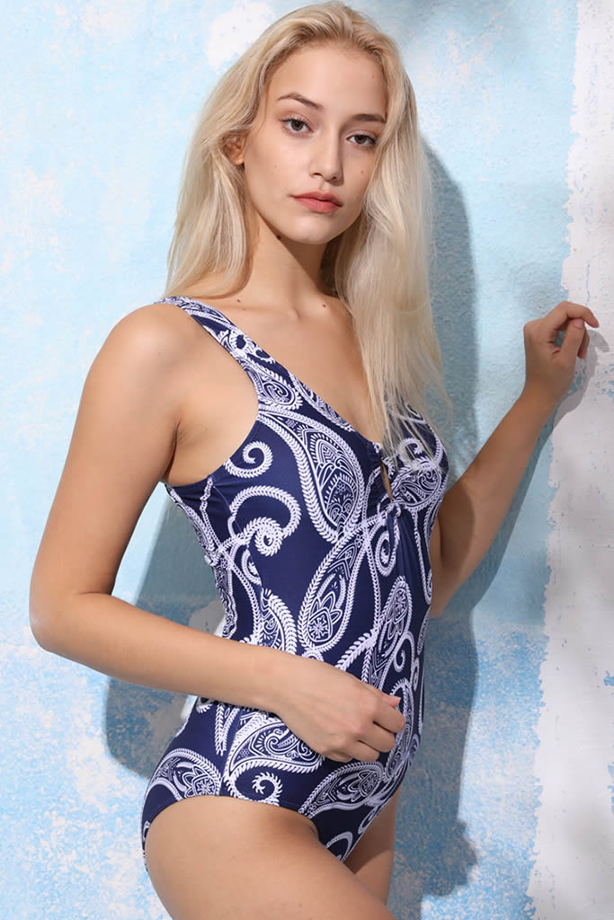 A144# White Paisley Print Plunge Tank One Piece Swimsuit * - Cobunny