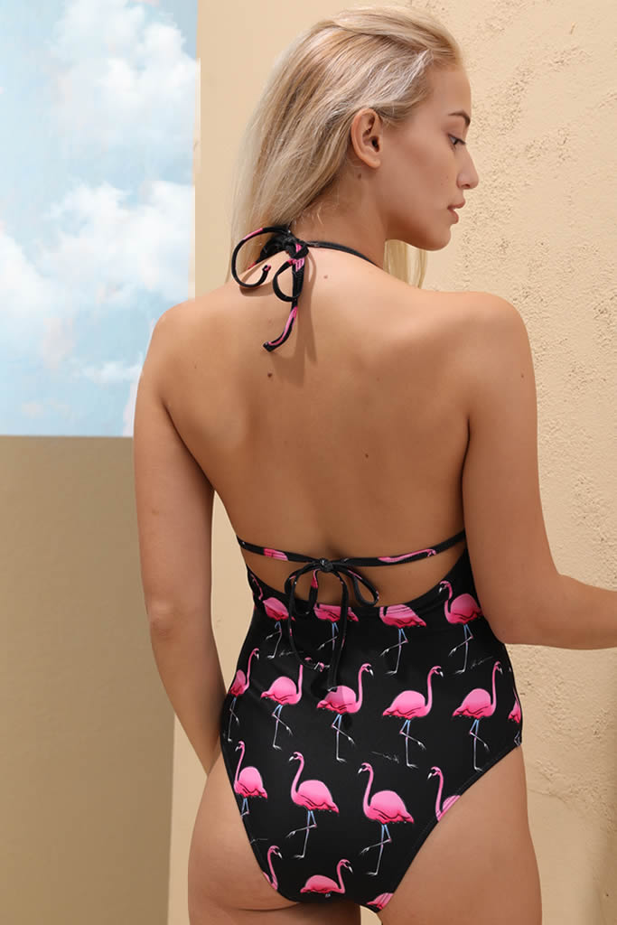 f9afdb0f8a A159# Flamingo Print Plunge Backless Halter One Piece Swimsuit * - Cobunny