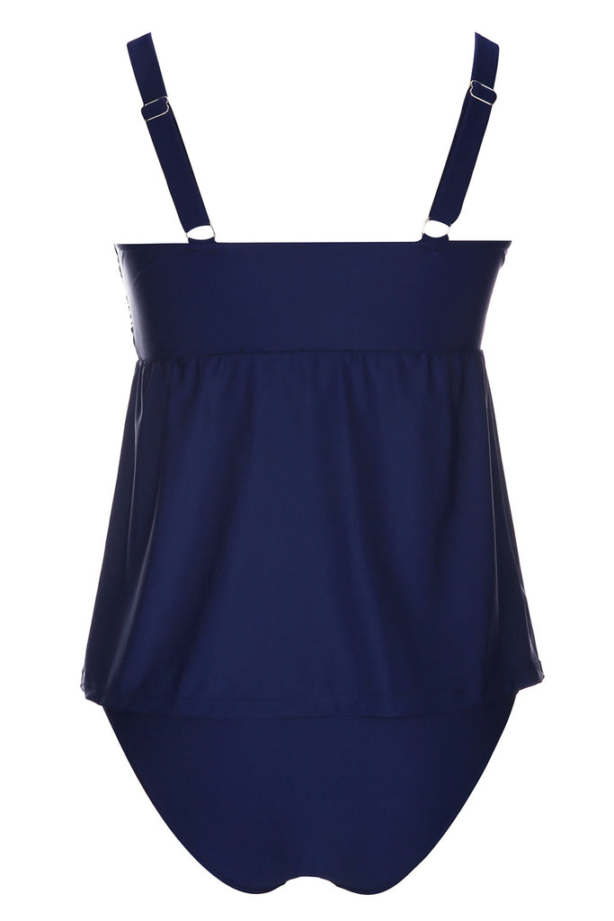 A180# Blue Twist front  Skirted Tankini Set * - Cobunny