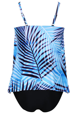A184# Palm Leaf Printed Gathered Neckline Tankini for Women * - Cobunny
