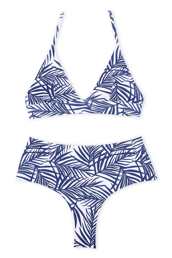 A207# Navy Blue Palm Leaf Print Bralette Halter High Waist Bikini Set * - Cobunny
