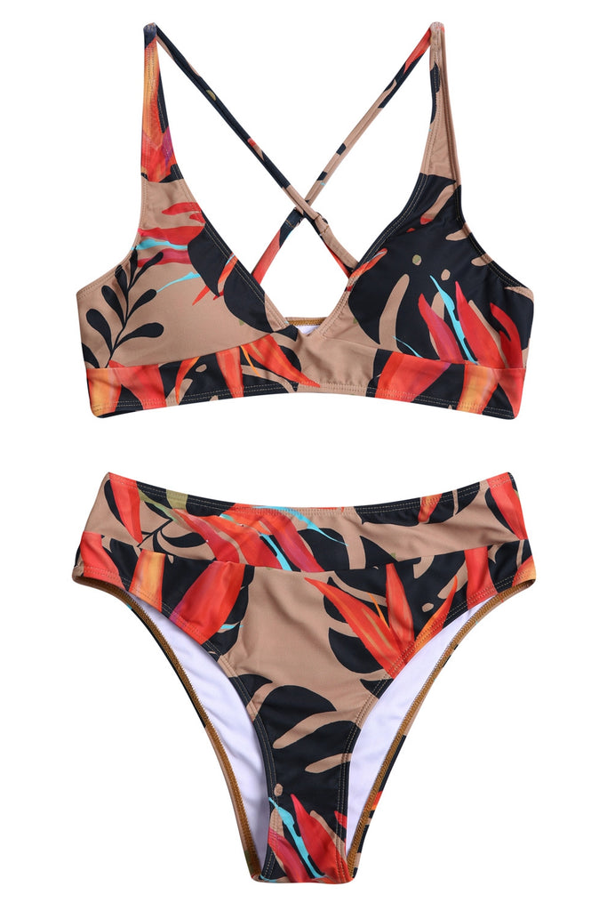 A211# Cross Back Bralette Tropical Leaf Printed Bikini Set * - Cobunny