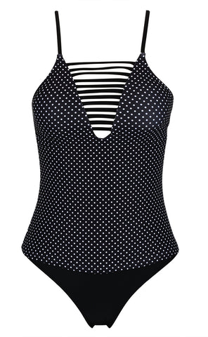 A309# Black and White Polka Dot Strappy Cut Out Plunge Tankini Set * - Cobunny