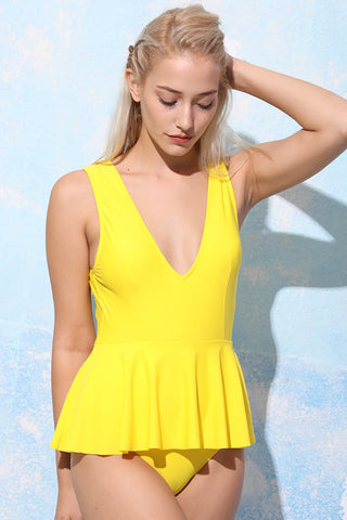 A322# Yellow Solid Plunge Skirted One Piece Swimsuit * - Cobunny