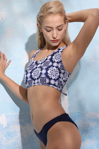 A363# Exotic Print Lace Up Racerback Crop Bikini Set * - Cobunny