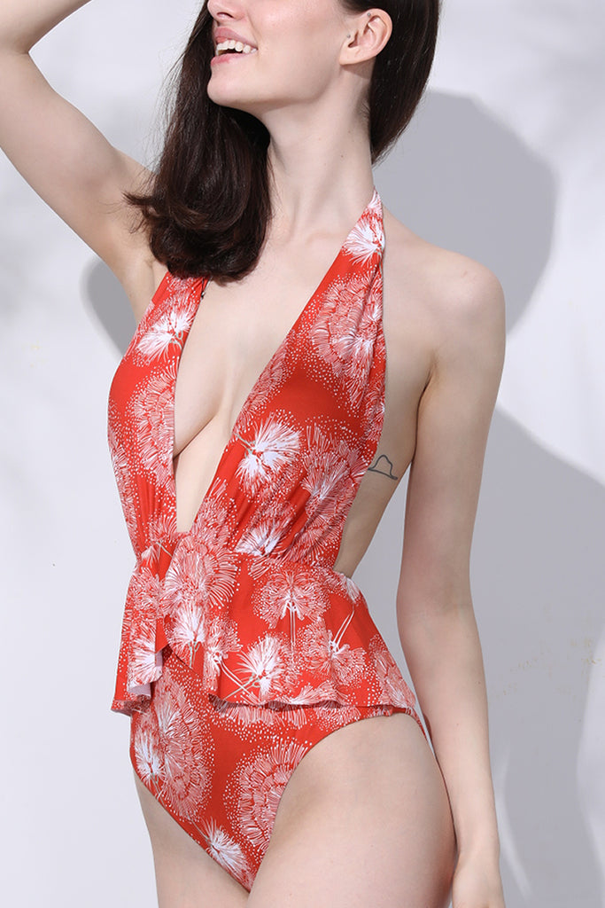1A368# Dandelion Print Deep Plunge Backless Ruffle Peplum Halter One Piece Swimsuit* - Cobunny