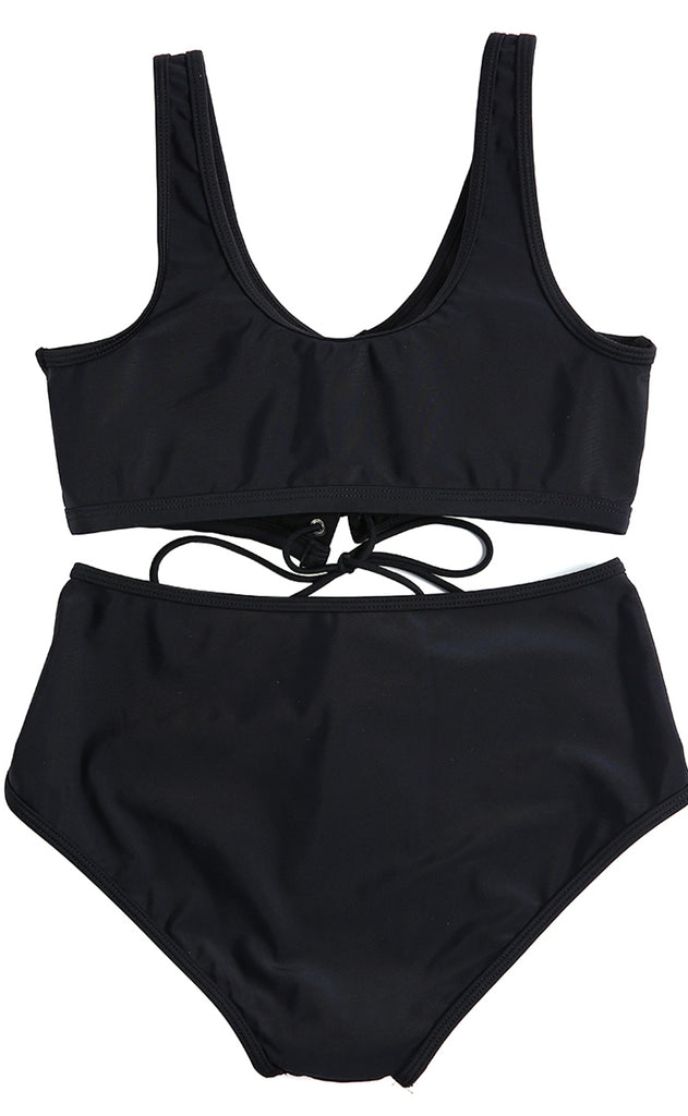1A417# Black Solid Lace Up Crop Tank High Waist Bikini Set* - Cobunny