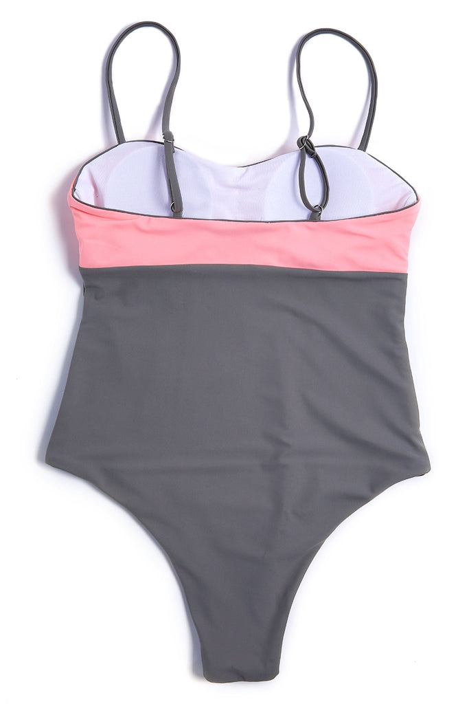 A420# Pink and Grey Two Tone Thin Strap One Piece Swimsuit * - Cobunny
