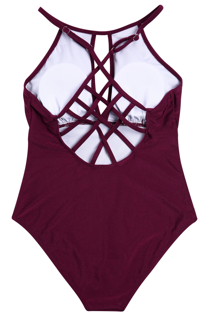 A424# Wine Red Solid Sheen Strappy Cross Back Plunge One Piece Swimsuit * - Cobunny